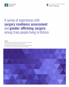 A survey of experiences with surgery readiness assessment and gender-affirming surgery among trans people living in Ontario