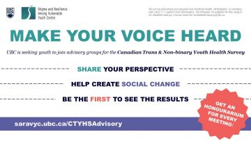 Share Your Voice in an Advisory Group for the Canadian Trans & Non-Binary Youth Health Survey