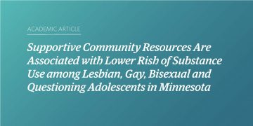 Supportive Community Resources Are Associated with Lower Risk of Substance Use among Lesbian, Gay, Bisexual, and Questioning Adolescents in Minnesota