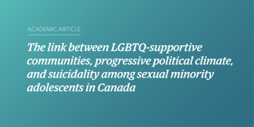 The link between LGBTQ-supportive communities, progressive political climate, and suicidality among sexual minority adolescents in Canada